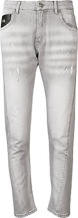 John Richmond paint splatter slim fit jeans - Cinza
