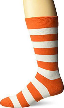 Hot Sox Mens Fashion Pattern Slack Crew Socks, College Rugby Stripe (Orange/White), Shoe Size: 6-12
