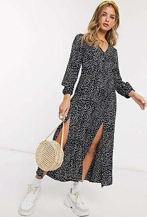 Miss Selfridge maxi tea dress in black print