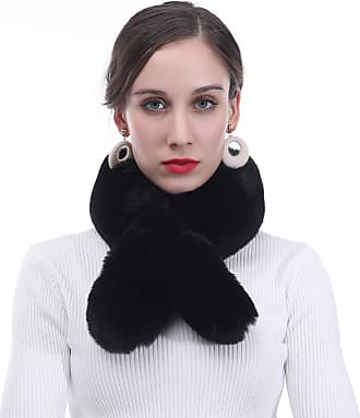 Lina & Lily Faux Fur Womens Winter Neck Scarf Fluffy (Black)