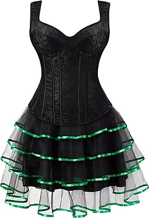 Laisla Fashion Ladies Corsage Corsage Dress Short Bustier with Suspenders Classic Carrier Floral Lace Oversize Carnival Skirt (Color : Blackgreen, One Size : 4XL)