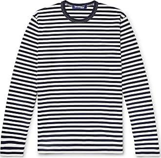 Junya Watanabe Striped Cotton-jersey T-shirt - Midnight blue