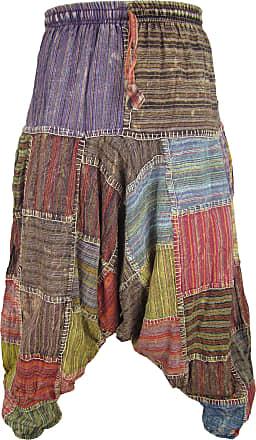 Gheri Mens Multicolored Patchwork Elastic Waist Harem Genie Pants Trousers Stitch Patch Small/Medium