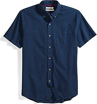 Goodthreads Mens Standard-Fit Short-Sleeve Seersucker Shirt, Solid Navy, Small