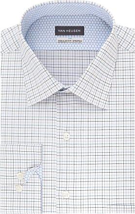 Van Heusen Mens Dress Shirt Air Regular Fit Stretch Check, Blue Graphite, 15.5 Neck 32-33 Sleeve