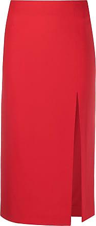 Red Valentino Saia midi com fenda lateral - Vermelho