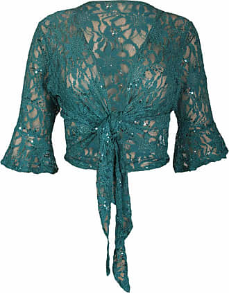 Purple Hanger New Womens Floral Lace 3/4 Three Quarter Short Sleeve Ladies Front Tie Up Sequin Shrug Bolero Stretch Cropped Top Cardigan Plus Size Jade Green Size 1
