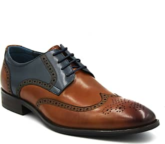 Azor Mens Lace Up Brogue Derby Loafers Leather Shoes (9 UK, Missori - Tan/Blue)