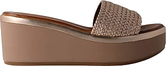 Inuovo 124006 - Taupe Leather Sandal for Women Grey Size: 8.5 UK