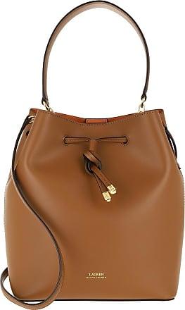Lauren Ralph Lauren Bucket Bags - Debby Drawstring Medium Bag Lauren Tan Monarch Orange - brown - Bucket Bags for ladies