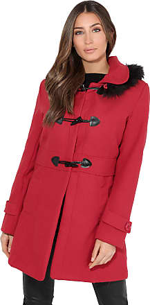 Krisp Women Parka Belted Military Duffle Trench Toggle Coat Long Jacket (Red, 6), 5652-RED-06