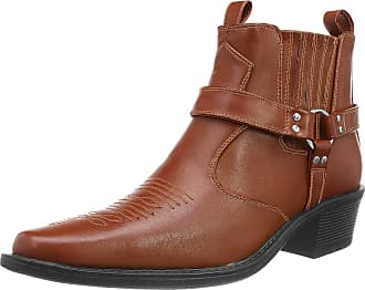 US Brass Mens Eastwood Cowboy Ankle Boots (10 UK) (Tan)