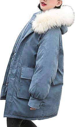 FNKDOR Women Winter Warm Hooded Coat Feather Collar Thick Fur Cotton Parka Slim Jacket Outwear Blue