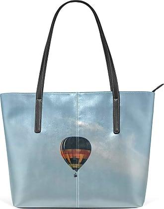 NaiiaN Handbags for Women Girls Ladies Student Purse Shopping Tote Bag Bird Light Weight Strap Shoulder Bags Leather Hot Air Balloon Sky Nature