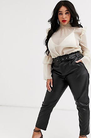 In The Style In The Style x Stephsa Plus pu paperbag waist trouser with belt in black