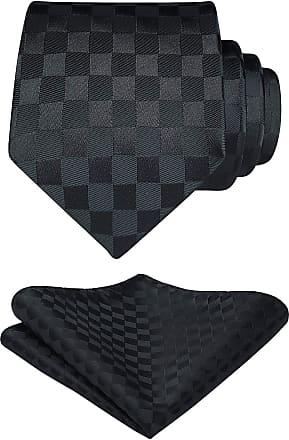Hisdern Plaid Check Wedding Party Classic Tie Handkerchief Mens Necktie & Pocket Square Set