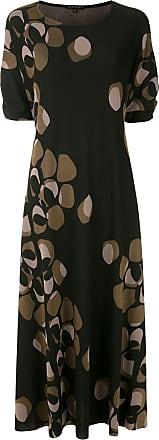 Alcaçuz Vestido longo Rana de tricô estampado - Preto