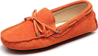 Jamron Womens Classic Suede Bow Tie Loafers Comfort Handmade Slipper Moccasins Orange 24208-2 UK2.5