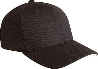 Yupoong Mens Flexfit Hard Buckram Cool and Dry Pique Mesh Cap Black Size L/XL