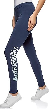 oodji Womens Jersey Leggings with Letter Print, Blue, UK 4 / EU 34 / XXS