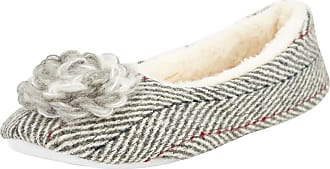 Weird Fish Minnerva Herringbone Ballerina Slipper Soft Grey Marl Size 6