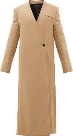 Haider Ackermann V-neck Wool-blend Twill Long-line Coat - Womens - Camel