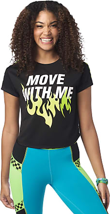 Zumba Loose Fitting Dance Fitness Graphic Tees Athletic Workout Top for Women, Bold Black 12, XL