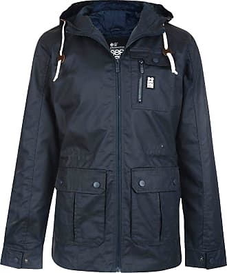 Crosshatch Mens Lightweight Shayter Hooded Cotton Jacket Navy Blue