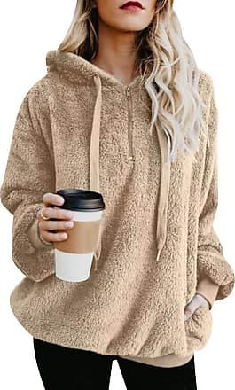 Isshe Womens Fluffy Fleece Hoodie Sweatshirt Pullover Ladies Quarter Zip Fuzzy Fleece Jumper With Pockets Outwear Long Sleeve Zipper Oversized Hooded Sweats