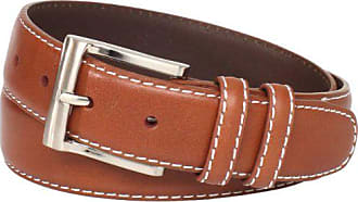 Florsheim Mens Casual Full Grain Leather Belt with Contrast Stitched Edge, Cognac, 44