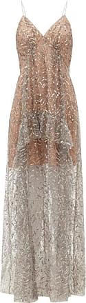 Self Portrait Self-portrait - Sequinned Tulle Maxi Dress - Womens - Silver