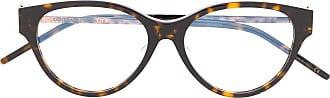 Saint Laurent Eyewear Armação de óculos oval com efeito tartaruga SLM48AF - Marrom