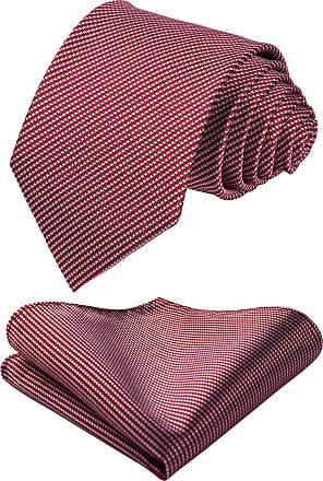 Hisdern Mens Houndstooth Tie Handkerchief Wedding Party Necktie & Pocket Square Set White & Red