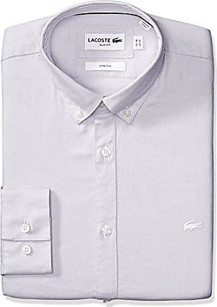 b291836cd18d Lacoste Mens Long Sleeve Solid Stretch Pinpoint Slim Woven Shirt