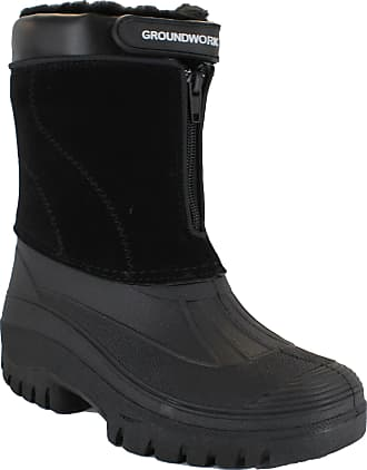 Groundwork LS88 Mens Mucker Stable Yard Waterproof Winter Snow Zip Boots Wellies (6 UK, Black)