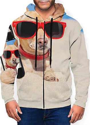 Not Applicable Clothing Mens Full Zip Hoodie Long Sleeve Active Jackets Sports Beach Chihuahua Glasses Phone Hoodies Zipper Sweatshirts Black