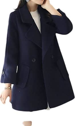 H&E Womens Warm Lapel Double Breasted Woolen Overcoat Pea Coat Jacket Navy Blue M