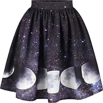 Ocean Plus Womens A Line Pleated Skirt Retro High Waist Mini Skater Skirt Knee Length Leisure Red White Dots Swing Skirt (XL (Waist: 31-39 inches), Moons)