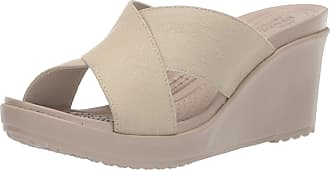 285121943 Crocs Womens Leigh Ii Xstrap Wedge W Clogs Orange (Oyster Cobblestone 1c4) 8