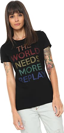 Replay Camiseta Replay World Replay Preta