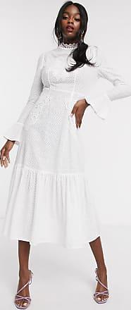 Never Fully Dressed Lange jurk met geborduurde lange mouwen en uitlopende zoom in wit