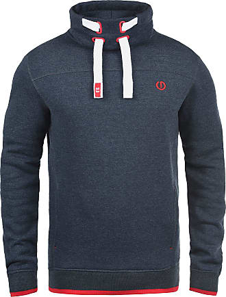 Solid Benjamin mens sweatshirt pullover sweater with stand-up collar made from high quality cotton blend. - Blue - 42