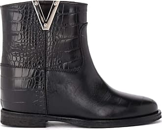 Via Roma 15 Ankle Boot in Black Crocodile Print Leather