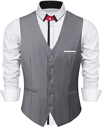 iClosam Mens Waistcoats Classic Paisley Vest Suit Set Slim Fit Formal Wedding Business Vest Grey