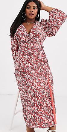 Glamorous Curve Midi-Wickelkleid mit Vintage-Blumenmuster-Rot