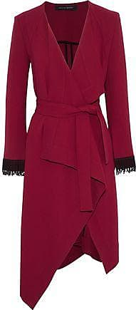 Roland Mouret Roland Mouret Woman Studham Lattice-trimmed Wool-crepe Wrap Jacket Claret Size 12