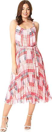 Roman Originals Women Check Print Pleated Strappy Maxi Dress - Ladies Sleeveless Cami Strap Round Neck Waist Tie Belt Abstract Summer Full Length Dresses - Fuchsia -