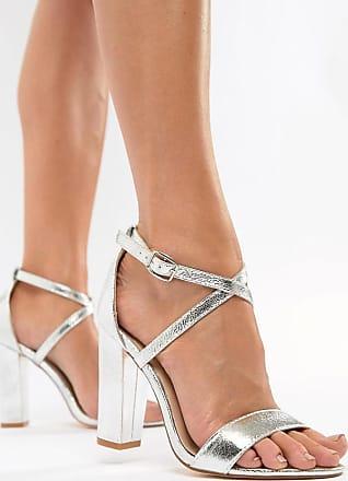 Glamorous Sandalen in Silber-Metallic mit Blockabsatz und überkreuzten Riemen
