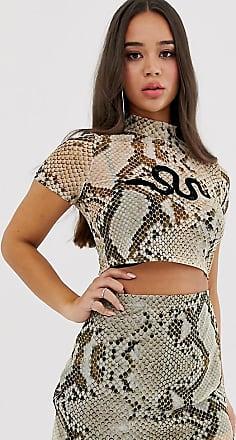 01c7287dc33f Rokoko short sleeved mesh crop top in snake mesh co-ord