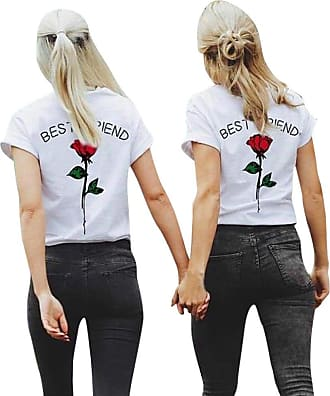FNKDOR Women Best Friend Letters Rose Printed T Shirts Causal Blouses Tops Short Sleeve (M, Hot Pink)